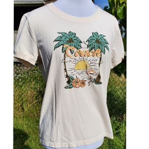 COACH pink flamingo palm tree tee shirt, sz Lg